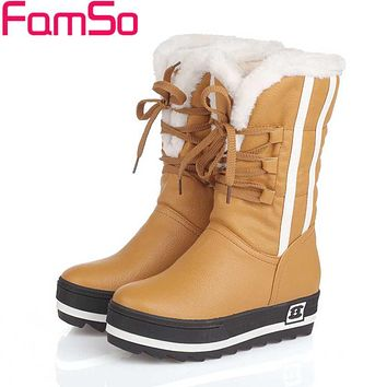 Mid-Calf Round Toe Lace-Up Thick Flat Heels Women's Winter Boots
