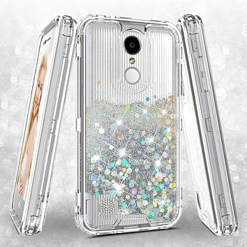 LG Aristo 3 | Aristo 3 Plus | Tribute Empire | K8S | K8 Plus | Rebel 4 | Zone 4 | Phoenix 4 Case, Hard Clear Glitter Sparkle Liquid Heavy Duty Shockproof Triple Layer Protective Bling Girls Women Case Cover - Clear