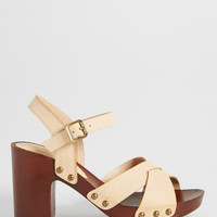 trista faux leather and wood heel in natural | maurices