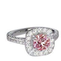 2.01 carats Pink & white round diamonds engagement ring white gold 14K jewelry