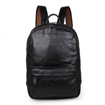 Cool Backpack school J.M.D Brand Cool Black Unisex Genuine Vintage Leather Backpack Zipper Around Closure Fashion Causal Journey Rucksack 7273A AT_52_3