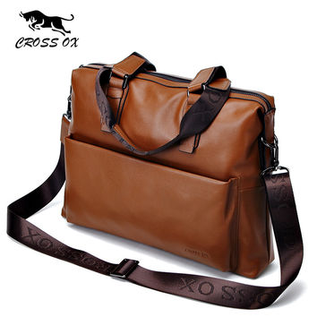 CROSS OX New Arrival Brown Genuine Leather Satchel Handbags For Men Shoulder Bags For Men Laptop Bag Men's Briefcase HB554M