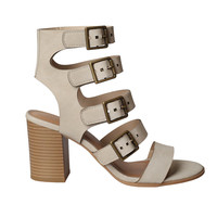 Serena Leather Buckle Strap Heels