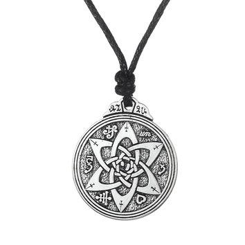 Retro Wicca flowers Knot Pentacle for Protection Vintage Jewelry Pagan Irish Long Lace Men Collar Necklace Neclaces For Women