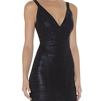 Black Metallic Low V Neckline Dress