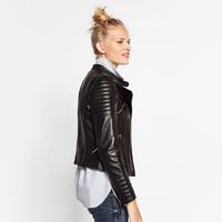 LEATHER JACKET WITH ZIPS