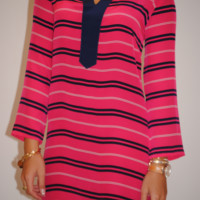 Pink and Navy Stripe Silk Libby Dress by Sail to Sable