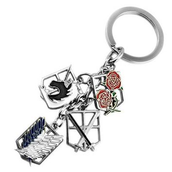 Anime keychain Attack on Titans badge pendant necklace key chain holder cover charms for motorcycle car keys