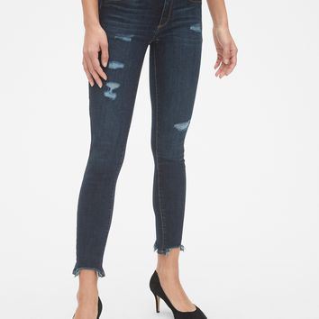 9ab9cdca812 Mid Rise Favorite Ankle Jeggings with Raw Hem