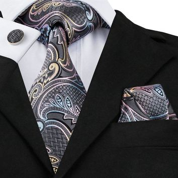 New Brand Hi-Tie Paisley Tie Set 100% Silk Jacquard Mens Necktie Gravata Hanky Cufflinks Set Mens Tie for Wedding Party