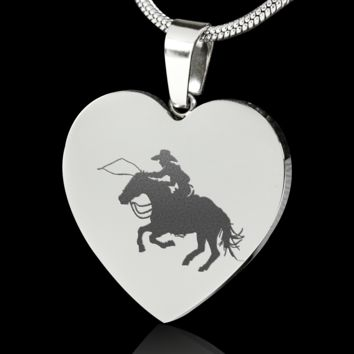 Calf Roping Cowboy Engraved Necklace based on a artwork by Deja Wolfe