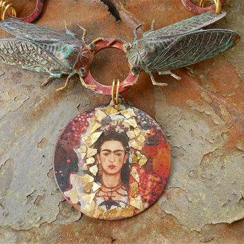 Statement Necklace - Frida of the Cicadas, Fine Jewelry, Frida Kahlo, Insect jewelry, OOAK, Insect necklace, Cicada Necklace