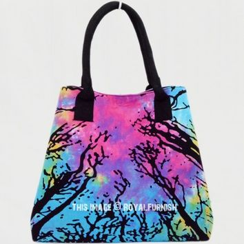 Colorful Tie Dye Locust Trees Beach Tote Bag for Women on RoyalFurnish.com