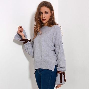 Ribbon Flare Long Sleeve Sweater