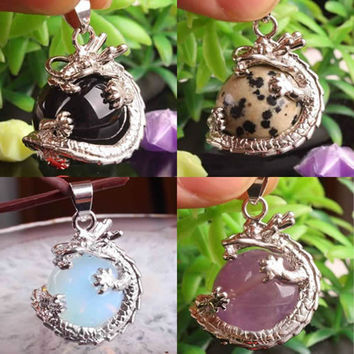 2016 New Natural stone pendant Gem stone Dragon Pendants Jewelry Quartz Amethyst Lapis Lazuli Opal Agate necklaces & pendants