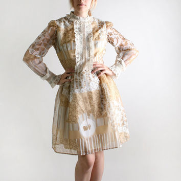 1960s Vintage Mini Dress  Nougat Quarry and White  Sheer by zwzzy