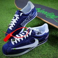 OFF WHITE x Nike Classic Cortez Leather Sport Running Shoes Blue Shoes - Best Online Sale