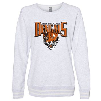 Official NCAA Buffalo State Bengals PPBUC06 Women's Crewneck Sweatshirt with White Striped Edges
