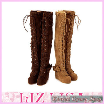 Liz Lisa Thigh-High Suede Lace-Up Boots (NwT) from Kawaii Gyaru Shop