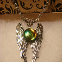 Dichroic Glass Angel Wing Necklace in Antique Silver  (908)