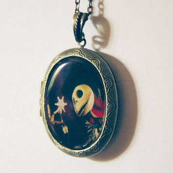 jack skellington halloween necklace nightmare before christmas jack necklace jack and sally the pumpkin king jack locket antique locket