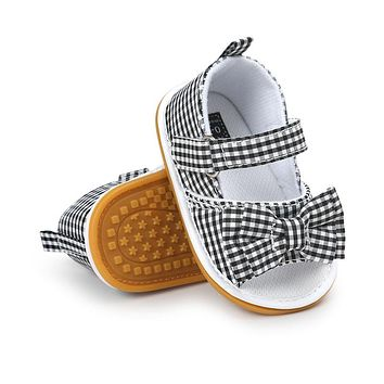 Newdesign Baby Girl Gingham Or Stripe Butterfly-knot Hook & Loop Flat Heel Summer Sandals For (0-18) Months Baby