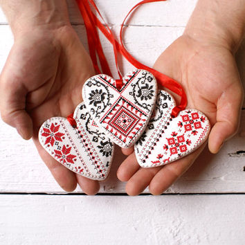 Ukraine Etno Set of 3 heart Decorative hearts ornaments ,Ukrainian ethnic style hearts, rustic, wedding favors ,tribal,red, white, black