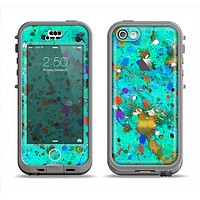 The Trendy Green with Splattered Paint Droplets Apple iPhone 5c LifeProof Nuud Case Skin Set