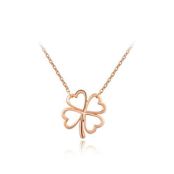 Open 4 Leaf Clover Pendant Necklace