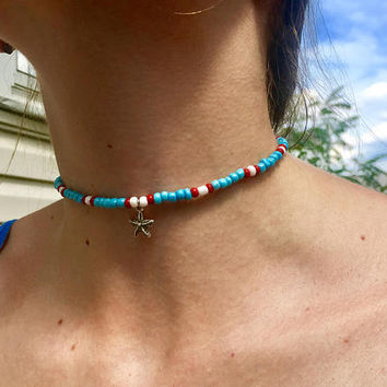 Dainty Beaded Starfish Choker | Silver | Blue Seed Bead | Tribal | Women's Beach Jewelry | Boho Necklace | Stretch | Gift for Her | Minimal