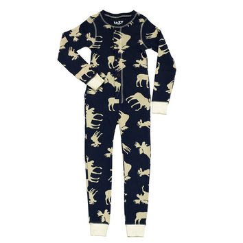 Blue Classic Moose Flapjack Toddler Union Suit