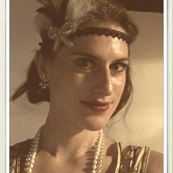 Roaring 20s wedding flapper great gatsby charleston black and white bridal birthday ball party bow headpiece headband present gift