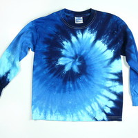 Youth Blue Spiral Long Sleeve Tie Dye T Shirt, Eco-friendly Dyeing
