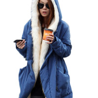Inner Furr Long Sleeve Hooded Jacket