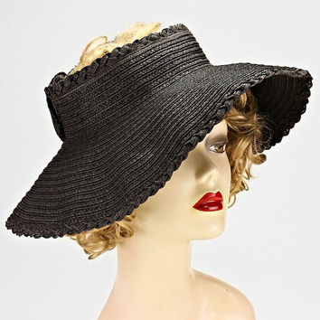 Black Straw Floppy Wide Brim Velcro Visor Sweet Bow Trim Packable, Summer Hat, Beach Hat, Sun Hat