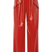 Red Leather Peg Pant