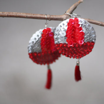 Tassel Earrings Ruby Red Silver Sequins felt christmas