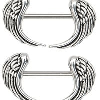 Angel Wings 14g 1/2 Nipple Ring Bar Shields - Sold as a Pair