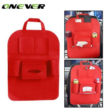 Onever Car Seat Back Bag Car Seat Organizer Travel Storage Bag Multi Auto Seat Back Accessories with Tissue Box Drinks Holder