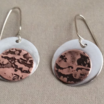 Sterling Silver Earrings With Etched Copper Accent Mixed Metal