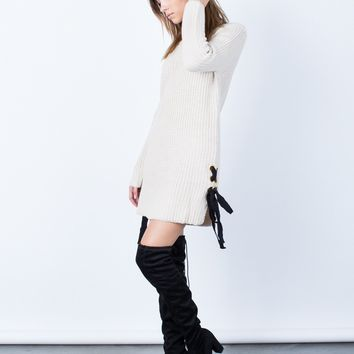 Side Ties Sweater Dress