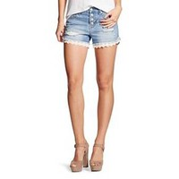 Women's High Rise Jean Short Light Wash with Lace - Mossimo