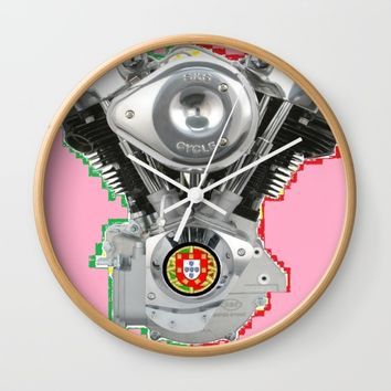 Portuguese Hot Pink Knuckles. Wall Clock by Tony Silveira