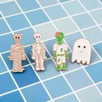 Funny cartoon pin Skeleton Mummy Ghost Zombie Enamel pin denim badge Lapel brooch decorations jewelry Gift for halloween friend