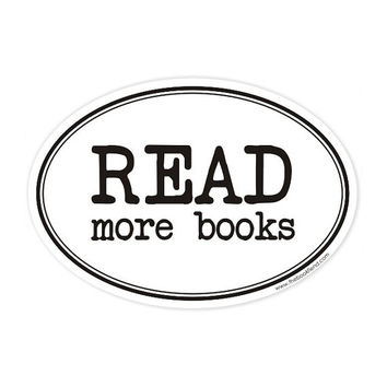 read more books oval sticker