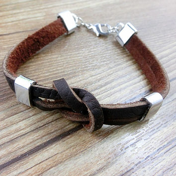 Real Soft Brown Leather Bracelet, personalized pendant leather bracelet,  women cuff bracelet men leather bracelet unisex bracelet  S066