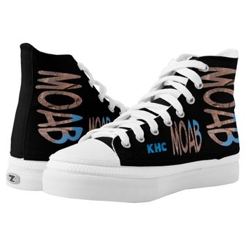 """Asymmetrical Date + Monogram Personalized """"Moab"""" Printed Shoes"""