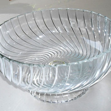 Vintage Glass Pedestal Bowl, Mid Century Swirl Glass Bowl, holiday serving bowl, housewares wedding gift, fruit bowl, centerpiece