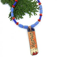 Breathe Yoga Pendant Necklace, Blue African Beads Red Czech Glass Artisan Handmade Jewelry