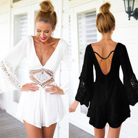 Sexy Lace Summer Jumpsuit, Casual Summer Sleeves Romper
